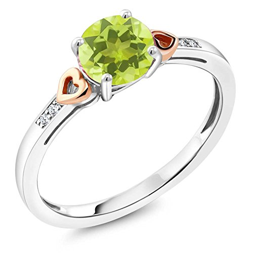 925 Sterling Silver and 10K Rose Gold Ring Round Yellow Lemon Quartz with Diamond Accent 1.21 cttw (Size (Gold Lemon Quartz Ring)