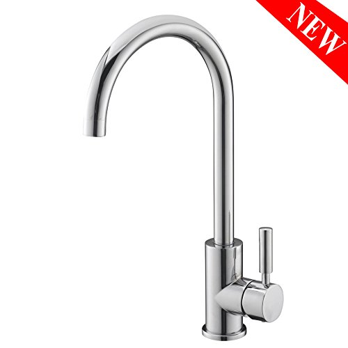 VAPSINT New Arrivals Stainless Steel One Hole Single Lever Kitchen Faucet, Chrome Kitchen Sink - New Steel Metal