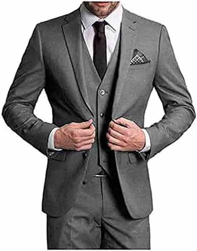 44cebbfb037129 Men's Slim Fit Peak Lapel Suits 3 Pieces Business Suit Wedding Prom Tuxedos  Blazer Pants Vest