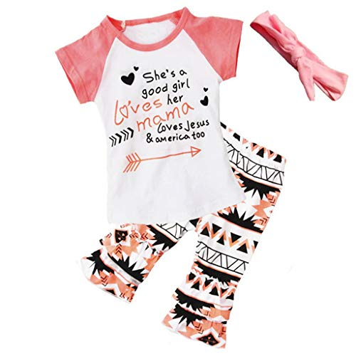 Lovely Cute Fashion Baby's Sets Girl Kids Clothes 3pcs Suit with Short Sleeves T-Shirt +Rhombus Printing Trousers+Headband XL