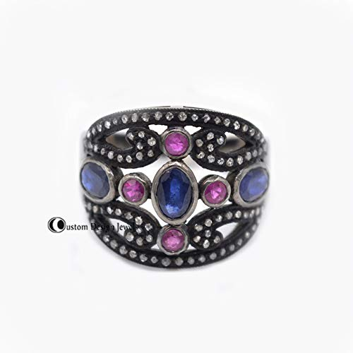 Sapphire Ring. Multi Sapphire Ring, 925 Silver Multi Gemstone Ring, Diamond Eternity Ring, Fine Ring, Diamond Round ring, Delicate Ring