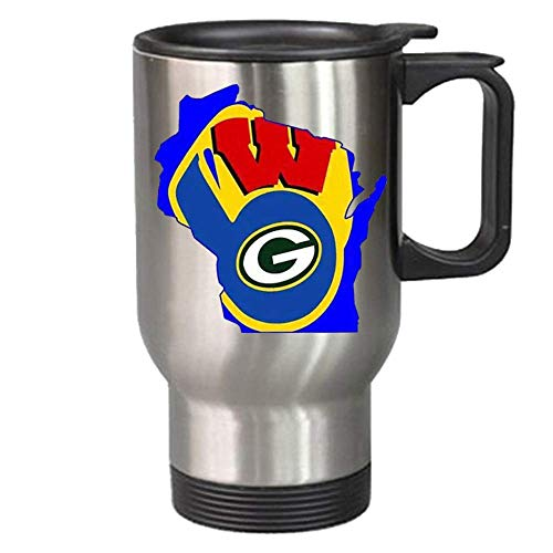 Milwaukee Brewers Green - Wisconsin Sports Teams Travel Mug Packers Brewers Badgers Novelty Sports Cup - Makes a Great Gift!
