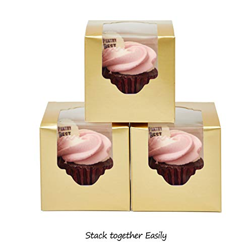 (Yotruth Gold Mini Cupcake Boxes Single Easy Assembly with Insert 100 Pack)