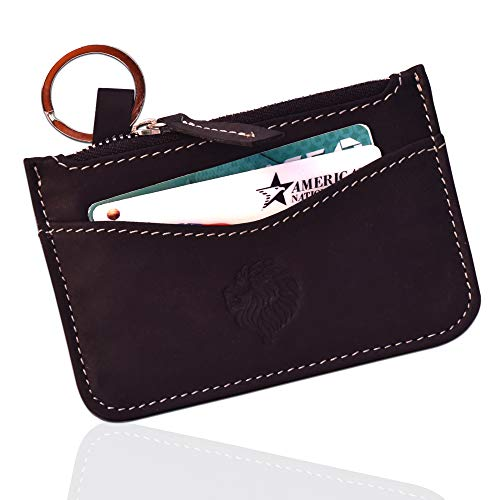 Black Mini Wallet - Louis Pelle Leather Minimalist Wallet RFID Blocking Coin Pouch