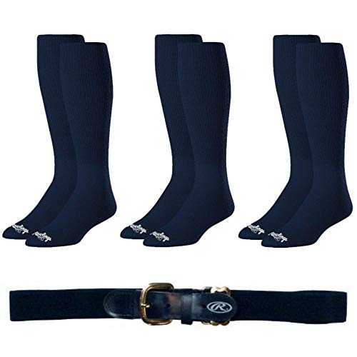 Rawlings Baseball Softball Socks (3-Pairs) and Belt - Navy Blue, Youth Belt, Medium Socks