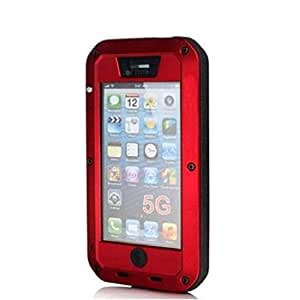 Aluminum Metal Case Toughened Glass Dust Proof Water Shock for iPhone 5 5S Red
