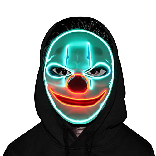 Clown Mask - Glowing Creepy Mask, Halloween Costumes for Festival, Cosplay Party (Light Purge Led)