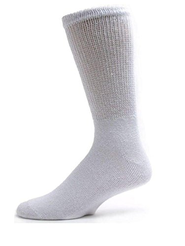 Davido Mens diabetic Socks crew made in Italy 100% cotton 6 pairs (13-15, white)