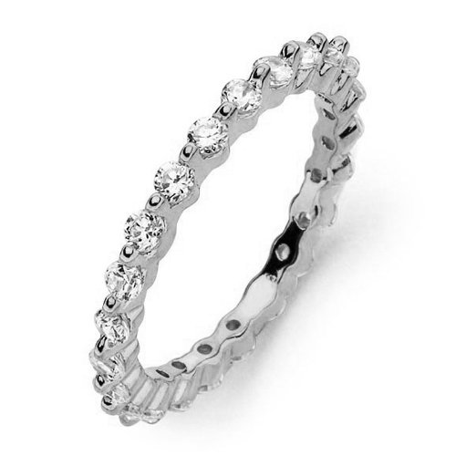 Prong Shared (Jewelry Pilot Stackable 2mm Rhodium Plated Sterling Silver Shared Prong Set Round Cut CZ Eternity Ring - Size 5)