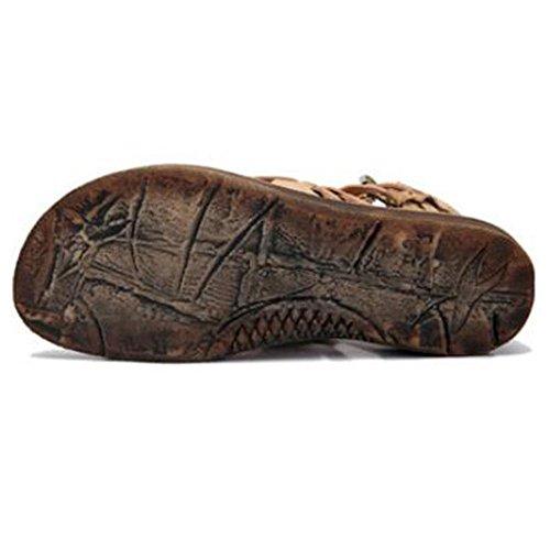 Mr. LQ - Sandalias hechas a mano de Bohemia del cuero genuino de las mujeres apricot