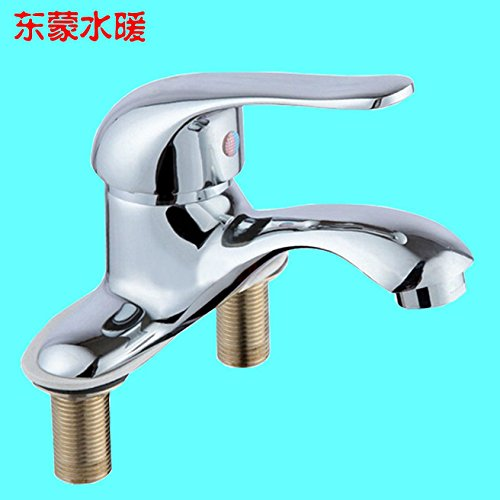 (Dayanand Sink Faucet Waterfall Spout Bathroom Sink Faucet Antique Copper Basin Mixer Tap Basin mixer (da hot and cold basin double-tap two holes three-pillar basin Washbasin Faucet)