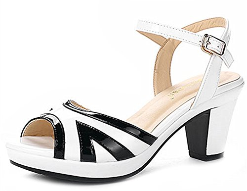 Aisun Women's New Peep Toe Buckled Sandals Shoes White