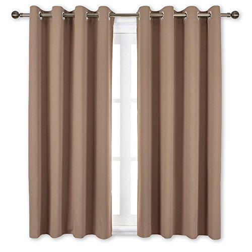 nicetown blackout draperies curtains panels - window treatment thermal insulated solid grommet blackout drapes for bedroom (set of 2 panels, 52 by 45 inch, cappuccino)