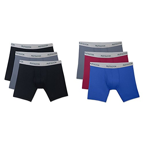 Fruit of the Loom Men's 3-Pack Everlight Boxer Briefs, Black / Gray, Large / Assorted (Fruit Of The Loom Nylon Underwear)
