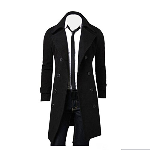 Muranba Clearance Men Slim Trench Coat Double Breasted Long ()