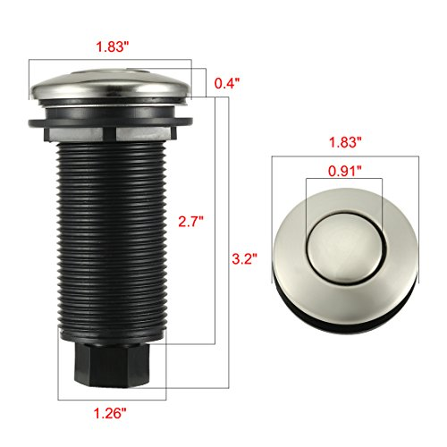 uxcell Set Garbage Disposal Pneumatic Air Switch w Hose Tube Polished Chrome Button
