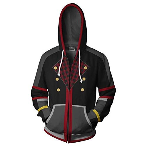 Kingdom Hearts Outfits (Unizero Mens Slim Fit Jacket - Kingdom Hearts Zip-up Hoodie Cosplay Costume)
