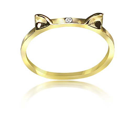 ANTOANETTA 14k Yellow Gold Lucky Cat Ears Ring with White Diamond - Lucky 14k Ring
