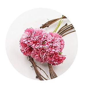 DraFenn Marigold 6Pcs/Bunch 3.5Cm Mini Daisy Flower Bouquet Artificial Flower Wedding Decoration DIY Craft,Pink 32