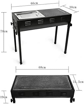 TYX-SS Grill BBQ Portable, Grand Pliable Charbon en Acier Inoxydable Barbecue Outil pour Camping Pique-Nique Garden Party