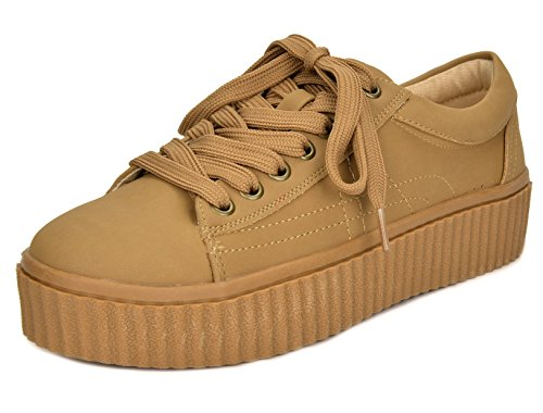 TOETOS Women's REINNA-01 Nude Lace Up Platform Sneakers Shoes - 10 M US