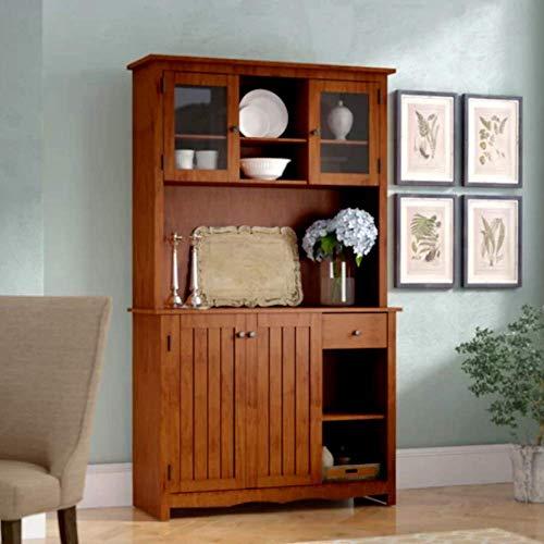 (Baby Armoire Wardrobe Closet Tall Narrow Corner Storage Cabinet, Natural Red Oak Finish Contemporary Standard Armoire & E-Book)