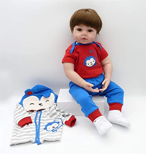 Binxing Toys Reborn Toddlers 24inch Boy Brown Hair Blue and Red Stripe Monkey Pattern Outfit Adorable Realistic Cute Baby for Child Age 5+ (Frog)