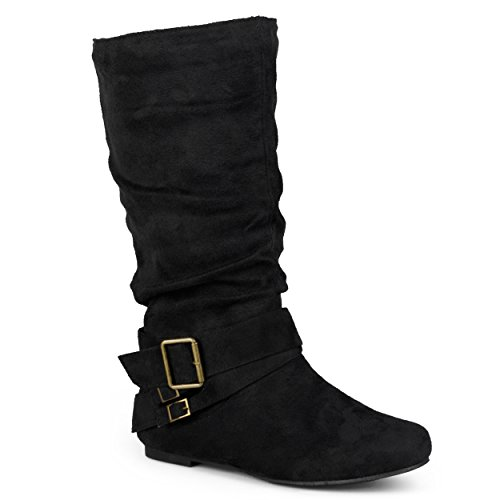 Journee Collection Womens Regular Sized and Wide-Calf Buckle Slouch Mid-Calf Boots Black, 7 Regular US