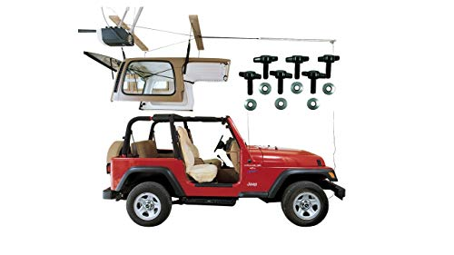 HARKEN Jeep Hardtop Garage Storage Hoist with Bonus 6 T Knobs for Quick Hardtop Removal | 6:1 Mechanical Advantage | Lift, Single-Person, Hanger, Pulley, Wrangler