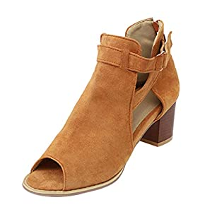 Pumps Shoes Women, Sunyastor Open Toe Ankle Strap Sandals Fish Mouth Cutout Double Buckle Zipper Stacked Heel Summer Shoes Brown
