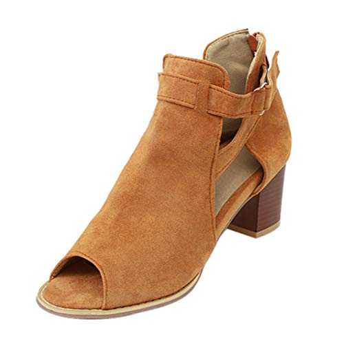 Tantisy ♣↭♣ Fashion Women's Sandals Fish Mouth Hollow Out Roma Shoes/Square Heel Daily Casual Boots Brown -