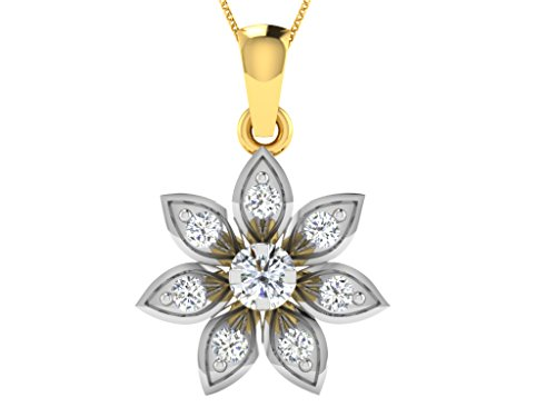 Libertini Pendentif argent 925 plaque or Jaune serti de Diamant en forme de Fleur