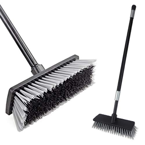 LandHope Hard Bristle Deck Broom Adjustable Long Handled Scrub Brush Heavy Duty Concrete Push Broom Outdoor Brush Garage…
