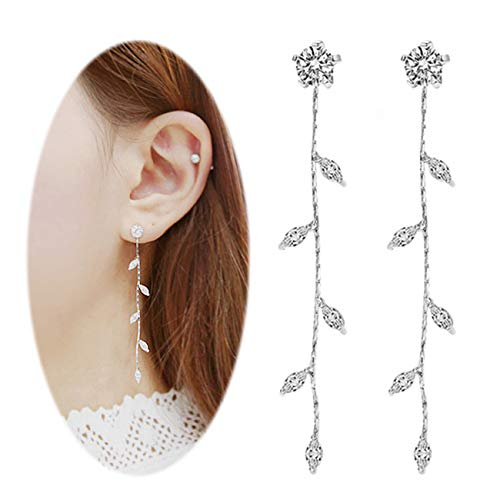 Leaf Chandelier Dangle Earrings Ear Studs Tassel Crawler Earrings Cuff Climber Rhinestone Pierced Clip on Jewelry Silver Plated