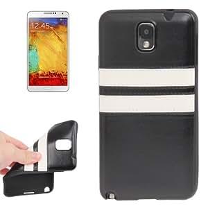 Crazy Horse Lines Texture Double White Pattern Paste Skin TPU Funda Protectora Para Samsung Galaxy Note III + Protector Pantalla Gratis/N9000(Black)