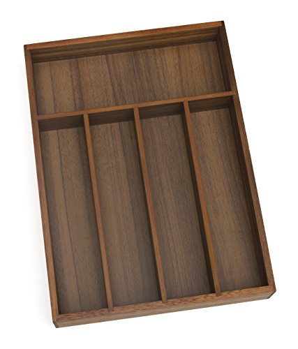 Lipper International 1076 Acacia Wood Flatware Organizer with 5 Compartments, 10-1/4