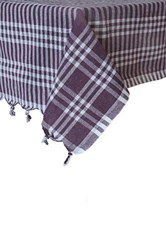(Tablecloth Linen Checked Plaid Table Cloth Dinner Summer Dining Tablecloth Picnic Throw Blanket Table Cover Gingham Check Buffalo Bohemian Checkered Retro Vintage Sofra (64x64, purple))
