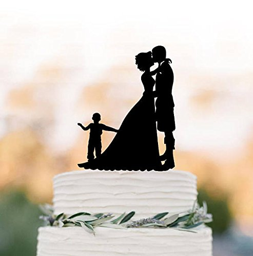 Scottish Wedding Bride and groom with kilt silhouette Wedding Cake toppers with boy, groom wears kilt wedding cake toppers with son unique,