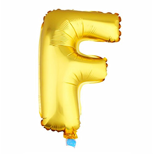 Aerfas 30 inch Gold letters 'F' shaped Helium foil balloons for Bridal Wedding Celebration Birthday party decoration supplies