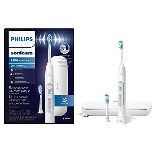 Philips Sonicare ExpertClean 7500 Rechargeable Electric Toothbrush, White HX9690/06 (Philips Sonicare Airfloss Rechargeable Electric Flosser 2 Pack)