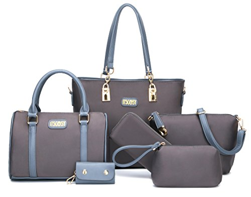 Womens 6 Pcs Shoulder Bags Top-Handle Handbag Tote Purse Set (Gray)