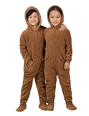Amazon Com Footed Pajamas Teddy Bear Toddler Hoodie