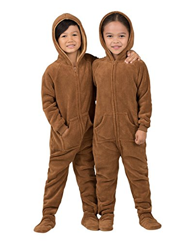 Footed Pajamas - Teddy Bear Toddler Hoodie Chenille Onesie - Extra Large -