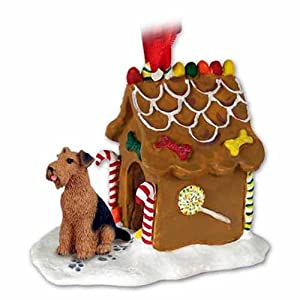 AIREDALE TERRIER Dog GINGERBREAD HOUSE Christmas Ornament 38 1