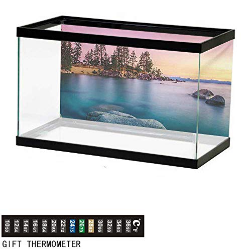 wwwhsl Aquarium Background,Lake,Trees on The Alley and Stones in The Lake Motivational Nature Inspired Tranquil Serene,Pink Blue Fish Tank Backdrop 30