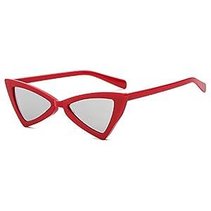 Small Cat Eye Sunglasses for Women Men Vintage Sun Glasses Trendy Fashion Shades Red Frame Silver Lens