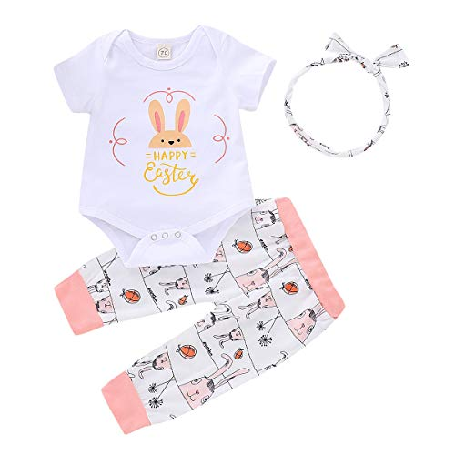 Infant Baby Boy Girls Happy Easter Outfit Cartooon Bunny Letter Printed Short Sleeve Romper + Floral Pants Clothes Set with Headband (6-12 Months, White Romper + Floral Pants Easter Clothes Set)