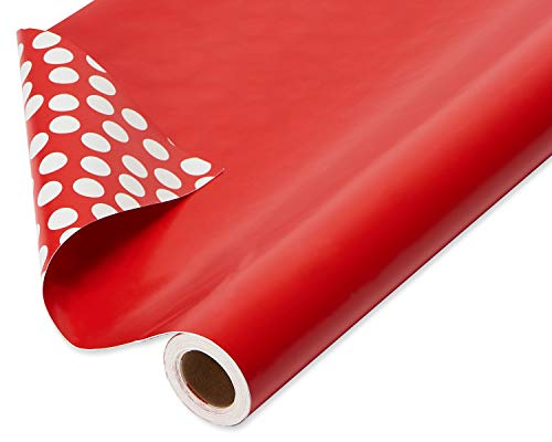 American Greetings, Wrapping Paper, Reversible Red and Polka Dot, Jumbo Roll