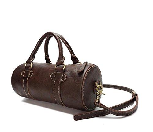 Principal y Exterior Desgaste Bolsa Brown Bolsa SHOUTIBAO Hombre de Cuero Oscura una Bolsa cilíndrico Durable Bolso dark Light aceitoso brown al una Bandolera Resistente U07PU