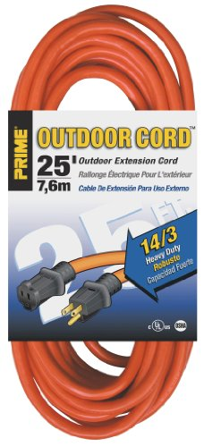 (Prime Wire & Cable EC501725 25-Foot 14/3 SJTW Heavy Duty Outdoor Extension Cord, Orange)